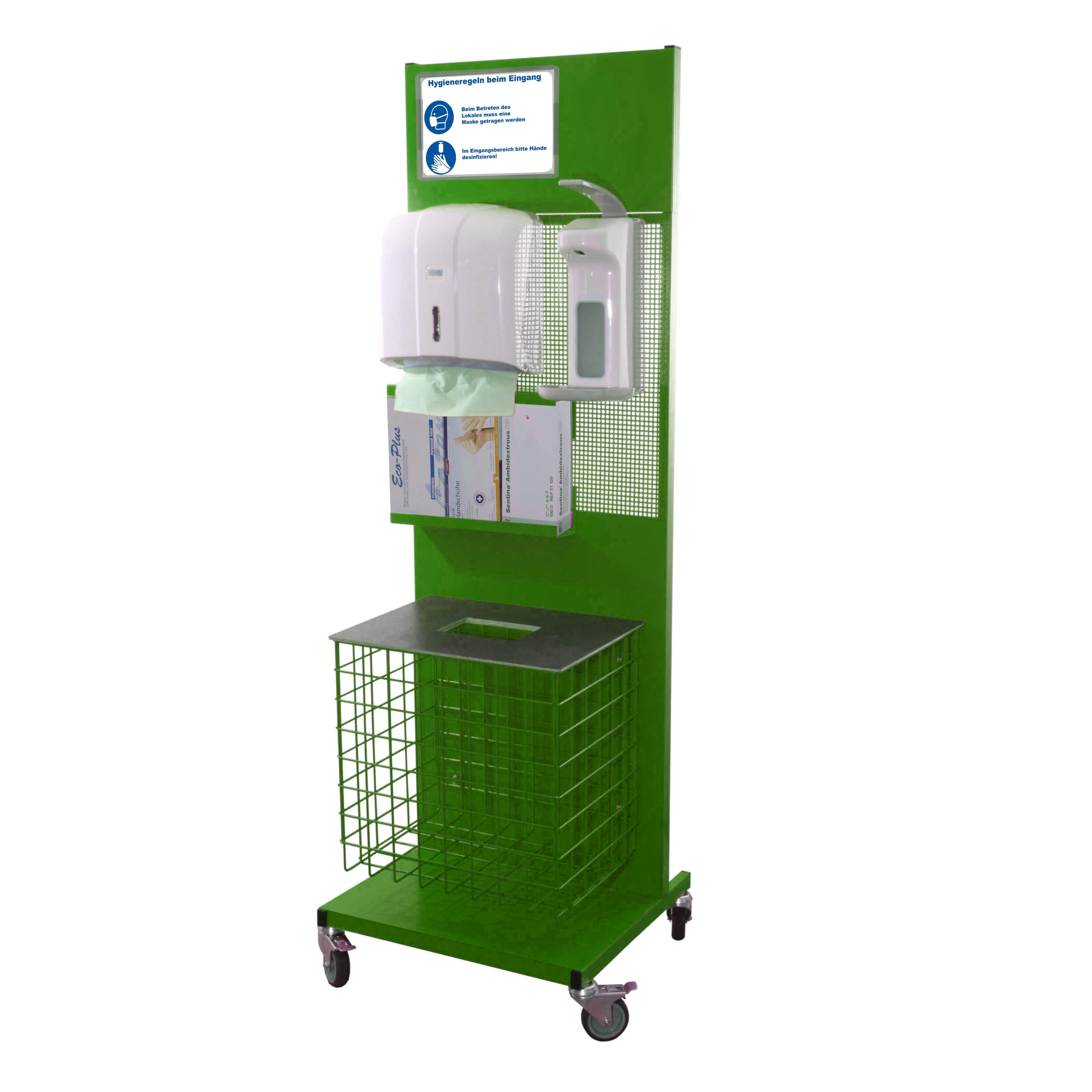 Hygienestation aus Metall Komplett RAL 6018
