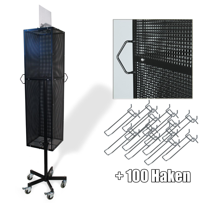 Lochplattenständer mit 4 Lochplatten, RAL9005, mit 100 Doppelhaken