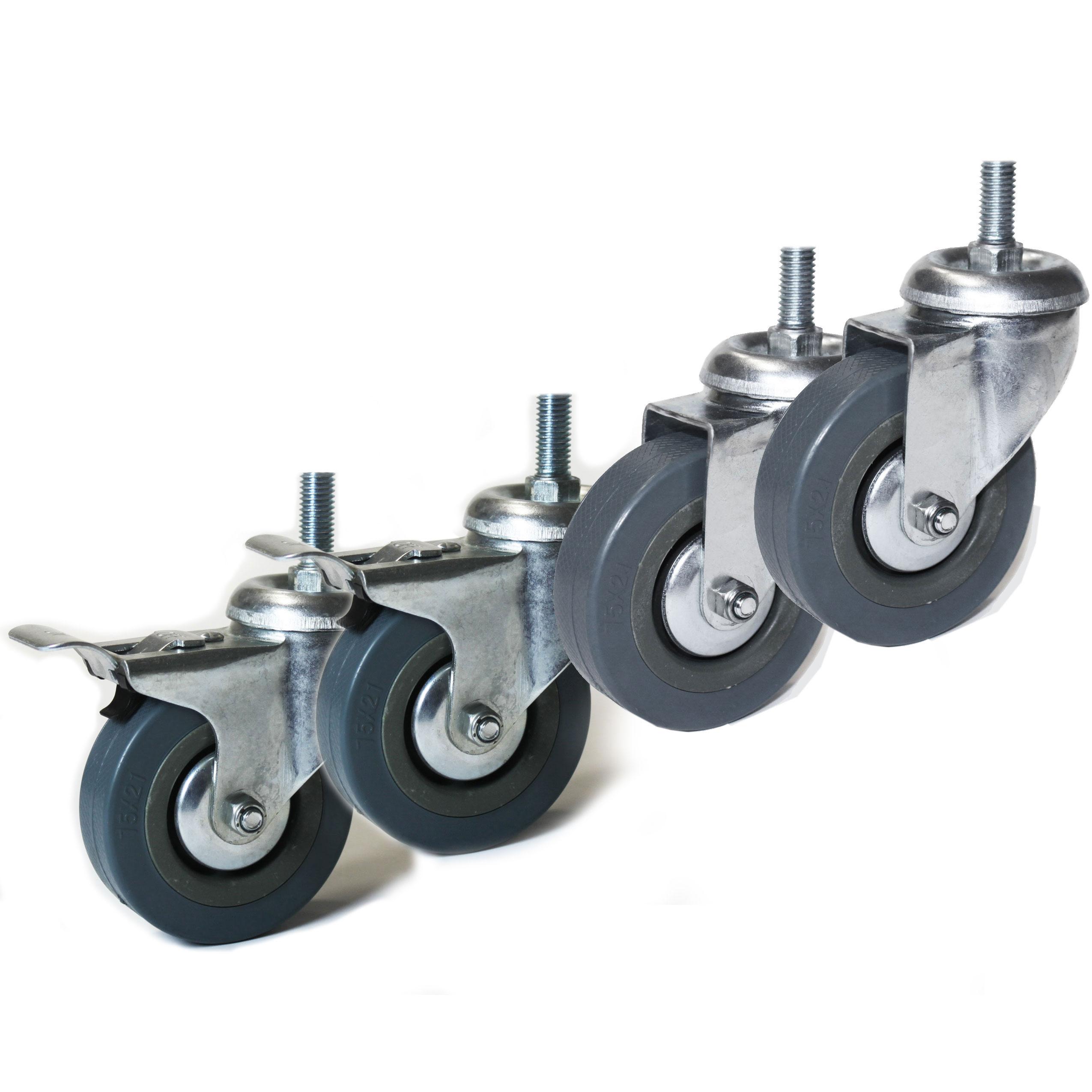 4 Lenkrollen 75mm mit Gewinde M10x20mm Möbelrollen 2x mit und 2x ohne Bremse