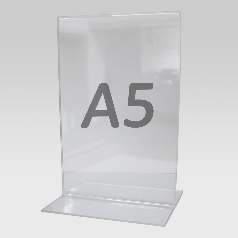 Tischaufsteller T-Aufsteller für Format A5, Acryl