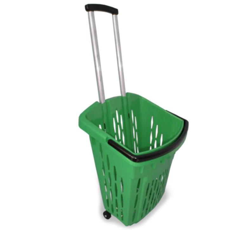 Einkaufstrolley Einkaufskorb m. Rollen ca.40L Grün
