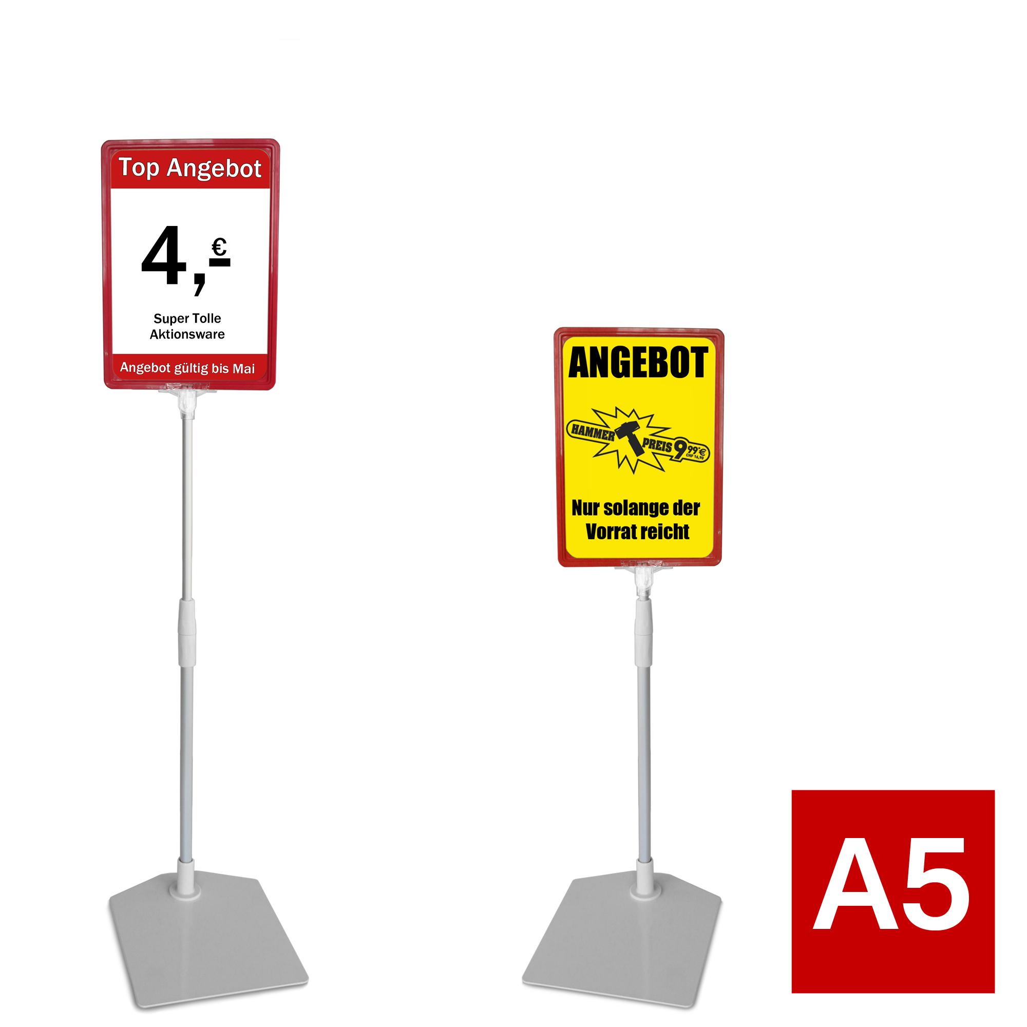 Plakatständer A5 rot Höhe flexibel 320-620mm-440 ST.A5-RT-32-62