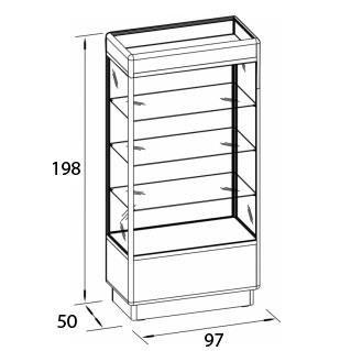 vitrine lavinia abschlie bar aus holz glas und alu 97x50x198cm vitrine w125. Black Bedroom Furniture Sets. Home Design Ideas