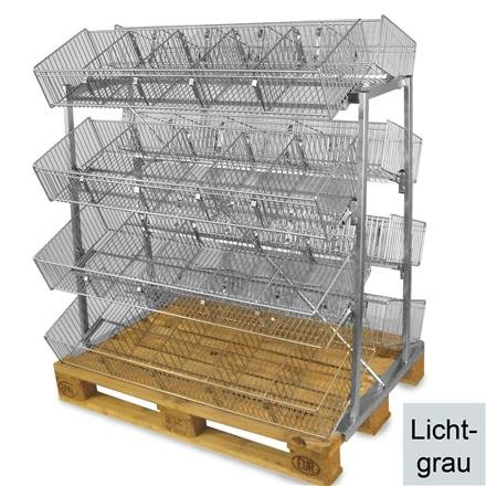 Palettenpräsenter mit 8 Körben in Lichtgrau