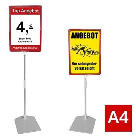 Plakatständer A4 rot Höhe flexibel 320-620mm