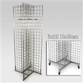 Gitterständer mit 4 Gittern, rollbar, verzinkt