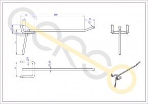 Einfachhaken für Lochblech, L= 100 mm - 100mm 3,4mm | 100mm 3,4mm
