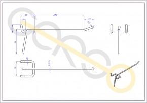 Einfachhaken für Lochblech, L = 200 mm