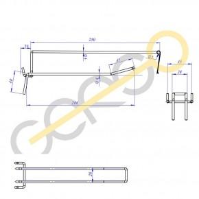 Doppelhaken mit Etikettenträger L=200 mm - 200mm 4,8mm | 200mm 4,8mm