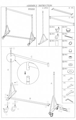 Profi-Kleideständer, sehr stabil, fixe Höhe 160 cm