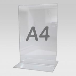 Tischaufsteller T-Aufsteller für Format A4, Acryl