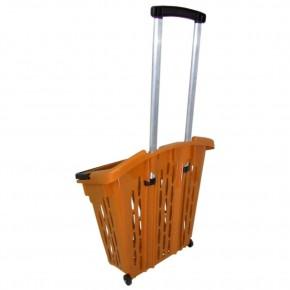 Einkaufstrolley Einkaufskorb mit Rollen 40L orange