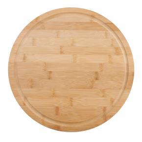 Schneidebrett aus Bambus D=33cm rundes Brett für Brot Pizza Obst Gemüse zum Schneiden