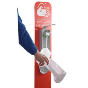Mobile Hygienestation aus Holz - rot